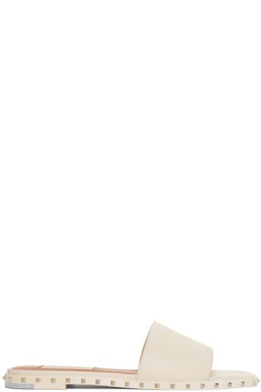 Valentino - Ivory Soul Rockstud Slide Sandals