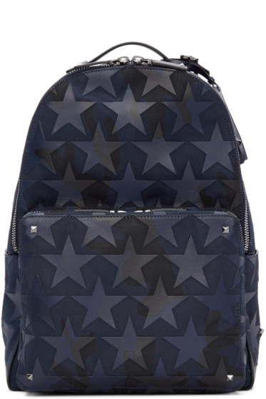 Valentino - Navy Camustars Backpack
