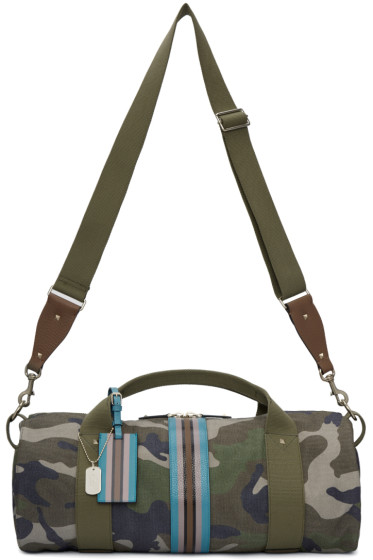 Valentino - Green Camo Stripe Duffle Bag