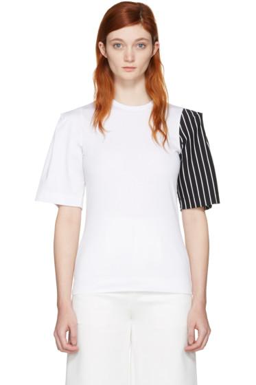 Facetasm - SSENSE Exclusive White Striped Sleeve T-Shirt