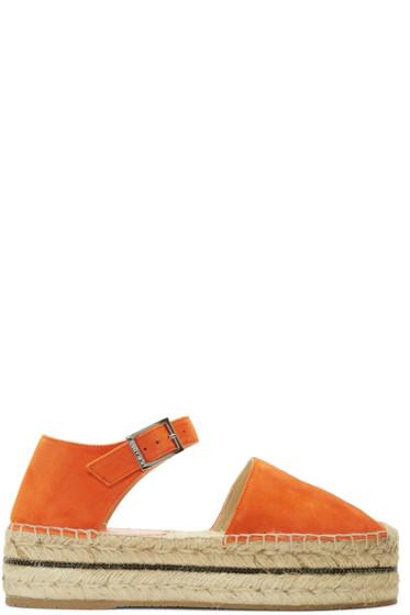 Jimmy Choo - Orange Suede Delphine Platform Espadrilles