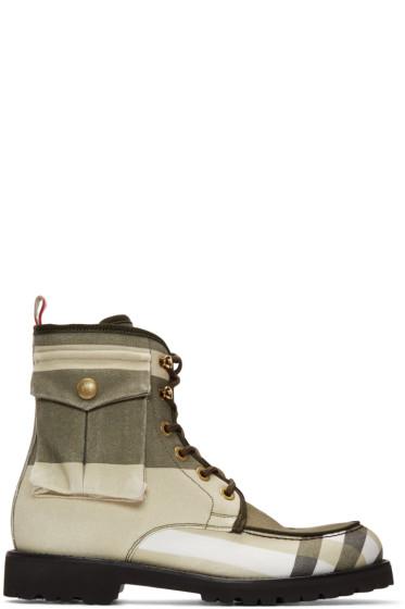 Moncler Gamme Bleu - Khaki Cargo Lace-Up Boots
