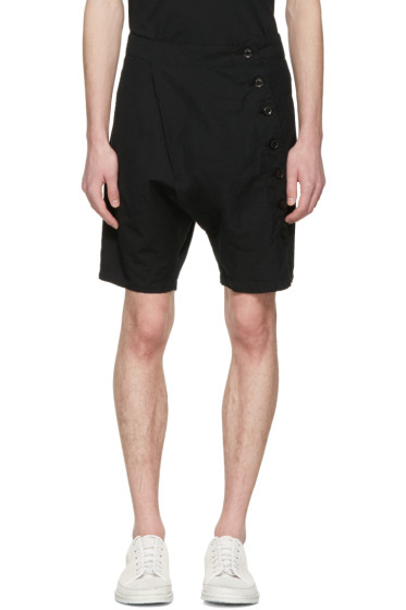 Nude:mm - Black Side Button Shorts