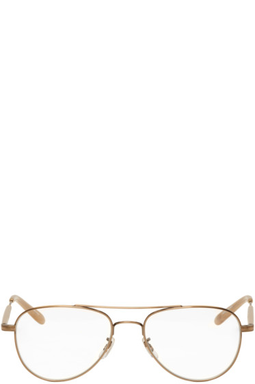 Garrett Leight - Gold Linnie Aviator Glasses
