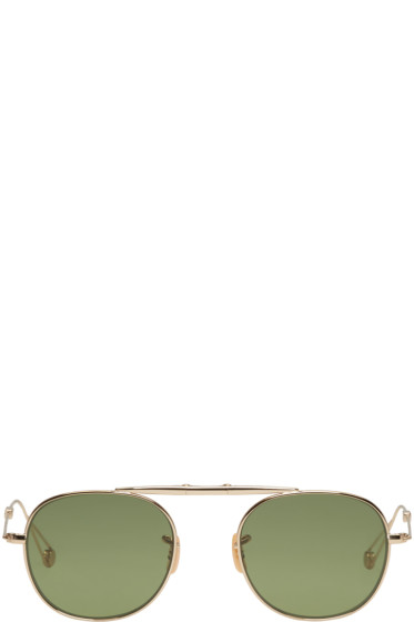 Garrett Leight - Gold Van Buren Aviator Sunglasses
