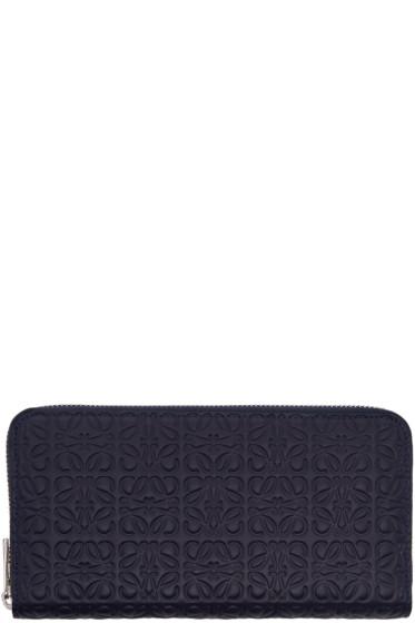 Loewe - Navy Zip Around Anagram Wallet
