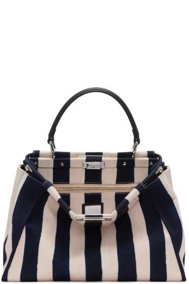 Fendi - Blue & White Canvas Regular Peekaboo Bag