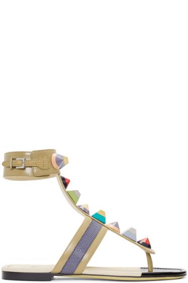 Fendi - Taupe Rainbow Thong Sandals