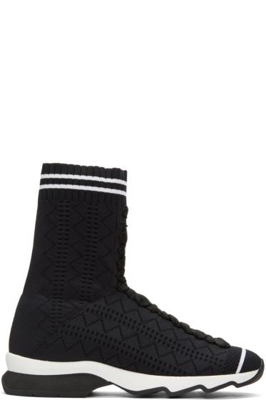 Fendi - Beige Sock High-Top Sneakers