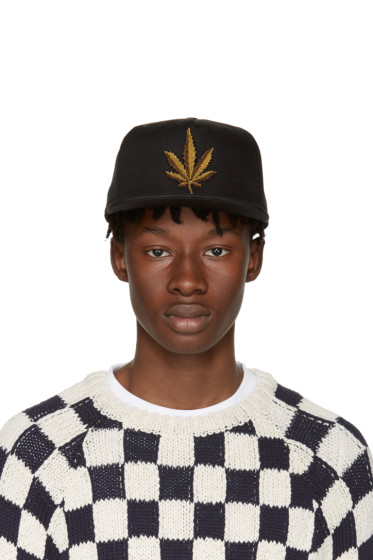 Palm Angels - Black Embroidered Weed Cap