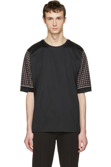 Wooyoungmi - Black Print Sleeves T-Shirt