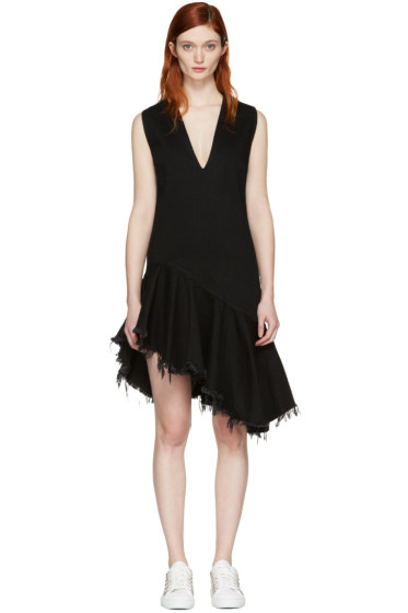 Marques Almeida - Black Denim V-Neck Dress