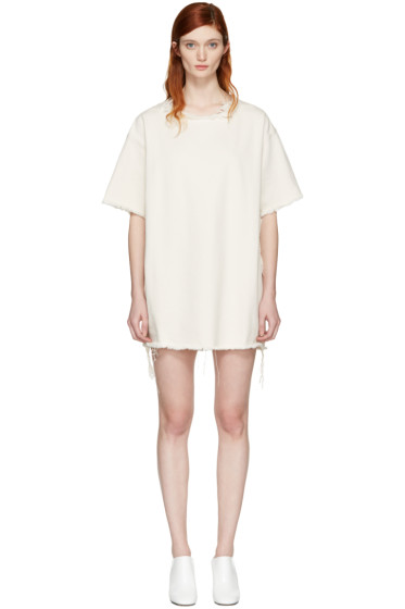 Marques Almeida - Off-White Denim T-Shirt Dress