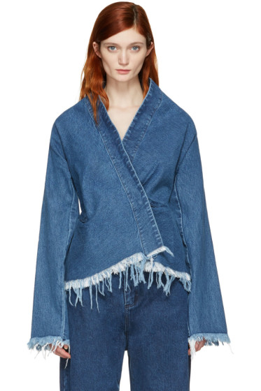 Marques Almeida - Blue Denim Draped Fitted Jacket