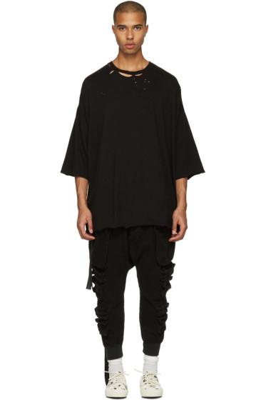 Unravel - ブラック ディストレス ボクシー T シャツ
