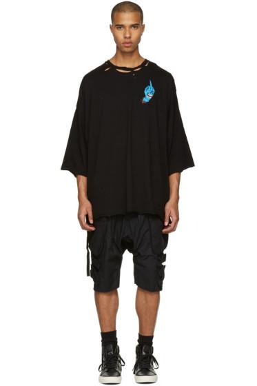 Unravel - ブラック ディストレス ハンド ボクシー T シャツ