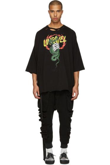Unravel - ブラック ディストレス スネーク ボクシー T シャツ