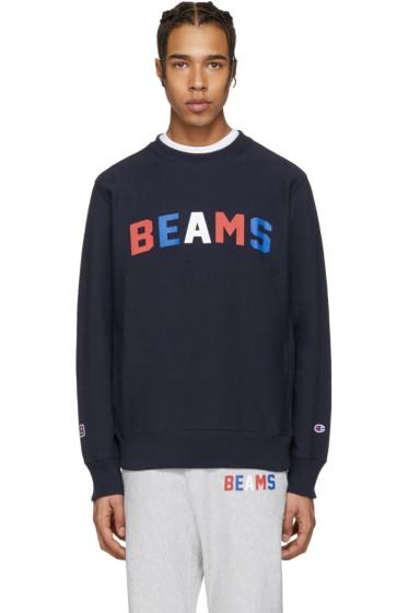 Champion x Beams - Navy Logo Pullover
