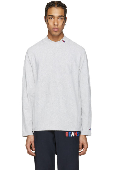 Champion x Beams - Grey Mockneck Logo Pullover