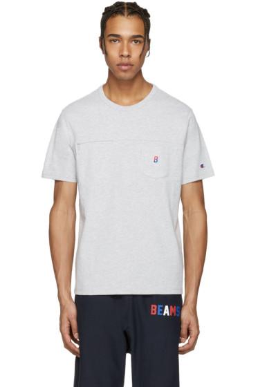 Champion x Beams - グレー 2 ポケット ロゴ T シャツ