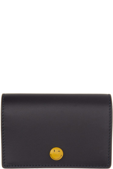 Anya Hindmarch - Navy Wink Popper Folded Card Holder