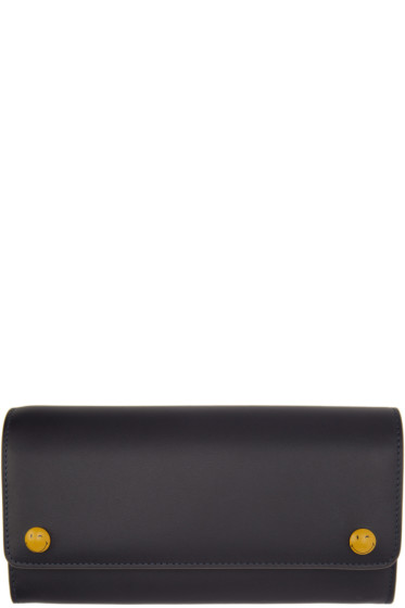 Anya Hindmarch - Navy Wink Popper Continental Wallet