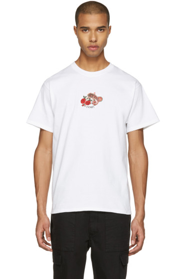 Noah - White Embroidered Paisley Logo T-Shirt