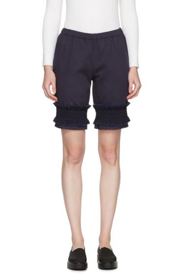 Ovelia Transtoto - Navy Frill Hem Shorts