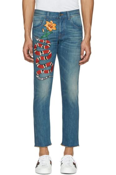 Gucci - Blue Snake & Flower Jeans