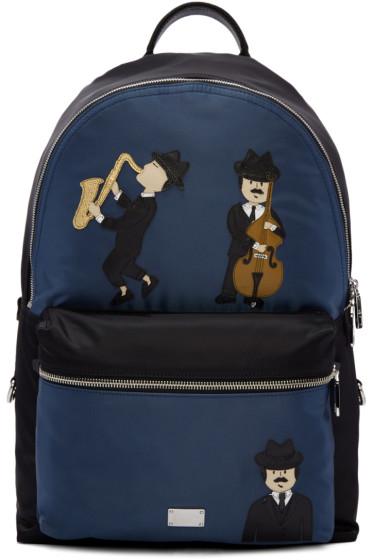 Dolce & Gabbana - Black & Blue Nylon Jazz Players Backpack