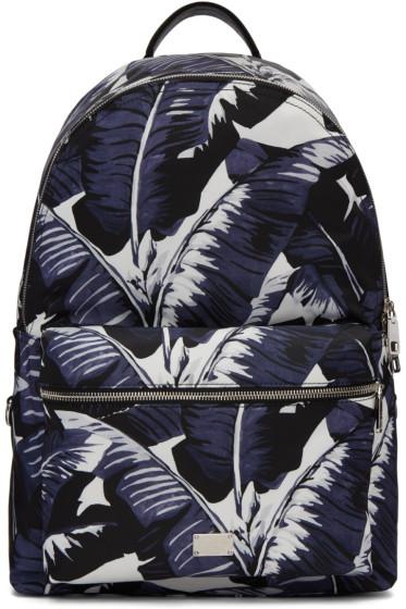Dolce & Gabbana - Multicolor Banana Leaves Print Backpack
