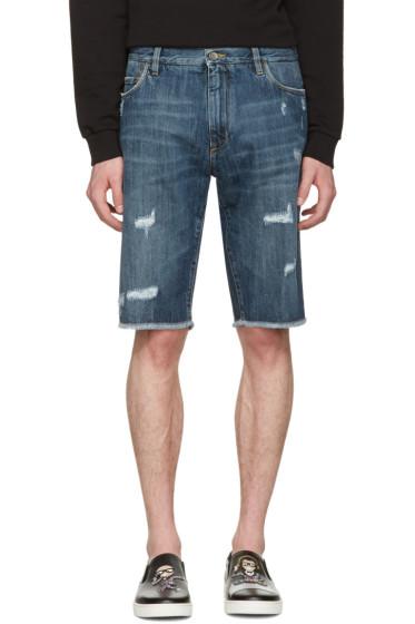 Dolce & Gabbana - Blue Denim Frayed Shorts