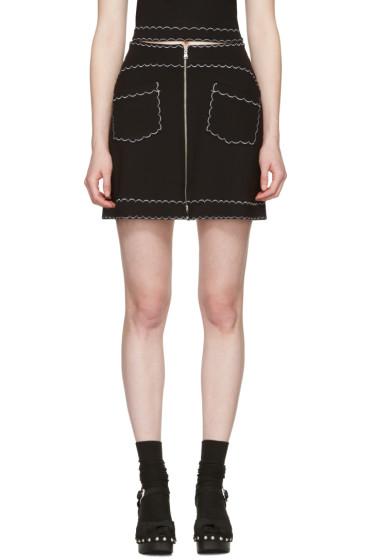 McQ Alexander Mcqueen - Black Contrast Stitch Miniskirt