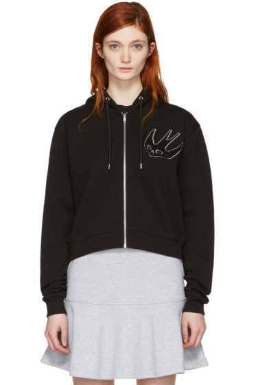 McQ Alexander Mcqueen - Black Cropped Swallow Hoodie