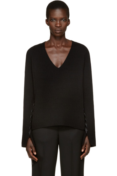 Helmut Lang - Black V-Neck Sweater