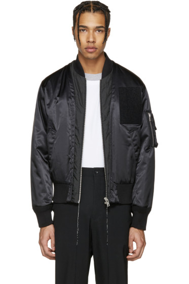 Maison Margiela - Black Satin Bomber Jacket