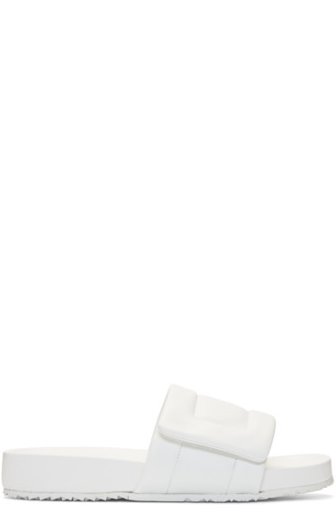 Maison Margiela - White Leather Slide Sandals