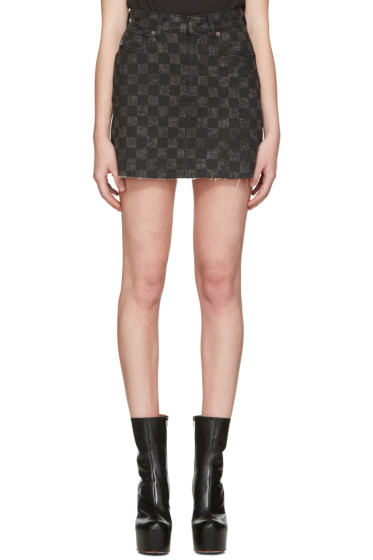 Marc Jacobs - Grey Denim Checker Miniskirt