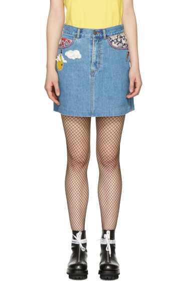 Marc Jacobs - Indigo Denim Embroidered Miniskirt