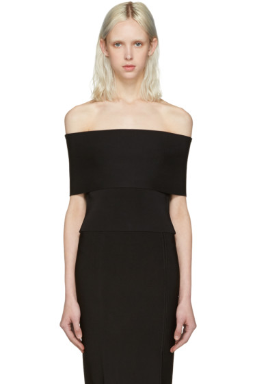 T by Alexander Wang - Black Needle Knit Off-the-Shoulder Top