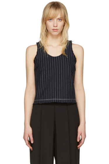 T by Alexander Wang - Navy Cropped Cotton Burlap Tank Top