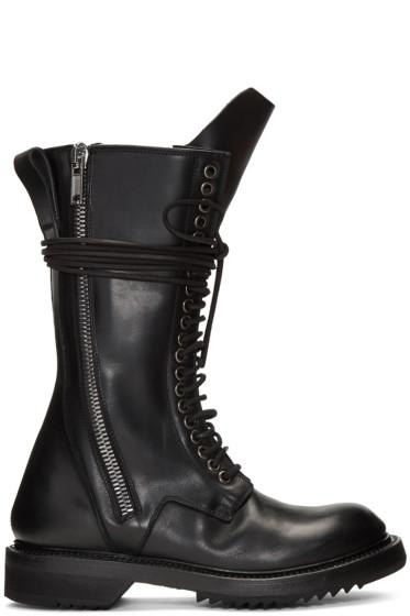 Rick Owens - Black Double Zip Lace-Up Boots