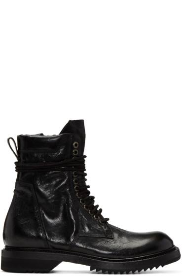 Rick Owens - Black Cracked Low Army Boots