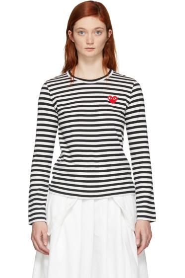 Comme des Garçons Play - Black & White Striped Heart Patch T-Shirt