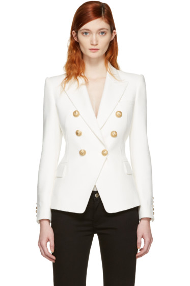 Balmain - White Double-Breasted Blazer