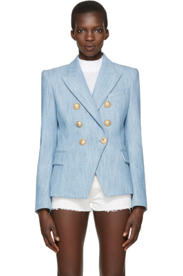 Balmain - Blue Tweed Six-Button Blazer