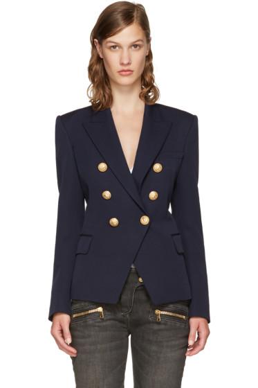 Balmain - Navy Classic Six-Button Blazer