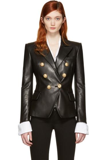 Balmain - Black Leather Double-Breasted Blazer