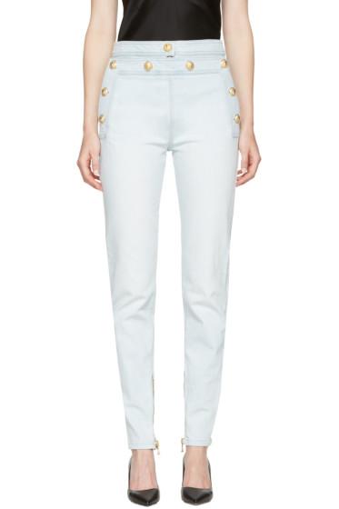 Balmain - Blue High-Rise Gold Buttons Jeans