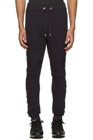 Balmain - Navy Lace-Up Lounge Pants